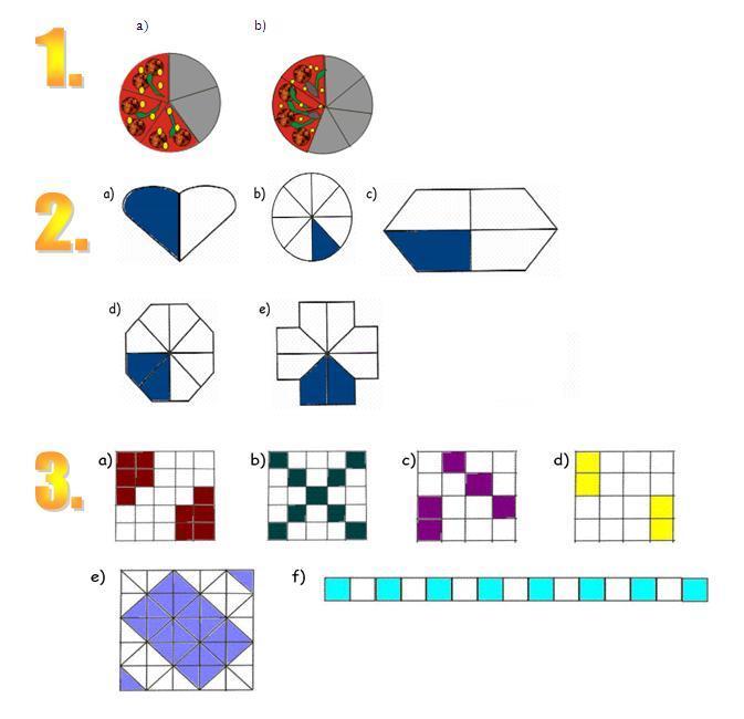 bestimme die farbigen anteile der obigen figuren